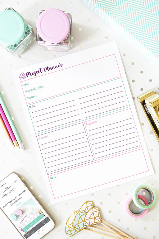 Class Project Planner Printable, organizing printables, student binder, #printables #organizing