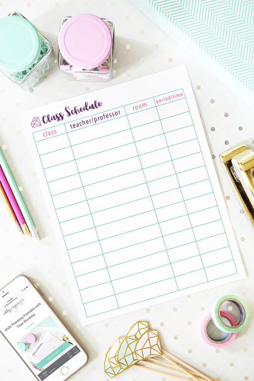 Class Schedule Printable, organizing printables, student binder, #printables #organizing
