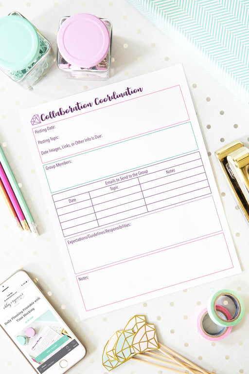 Collaboration Planner Printable for Blog and Social Media, organizing printables, blogging binder, #printables #organizing