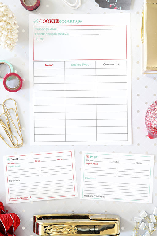 Cookie Exchange Organizing Printable and Recipe Cards, organizing printables, Christmas Planner, Holiday Planner, #printables #organizing
