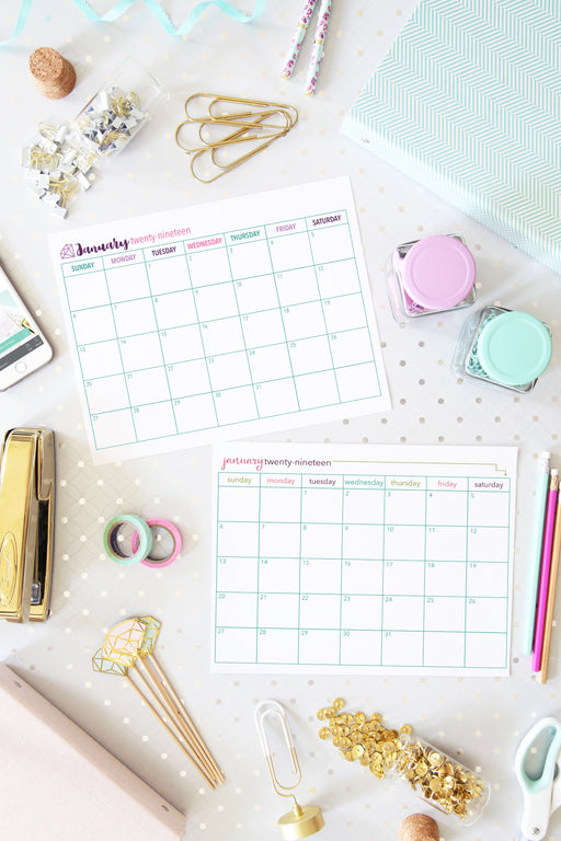 2018-2019 Monthly Calendar Printables- Dated, organizing printables, 2019 printable calendar, #printables #organizing