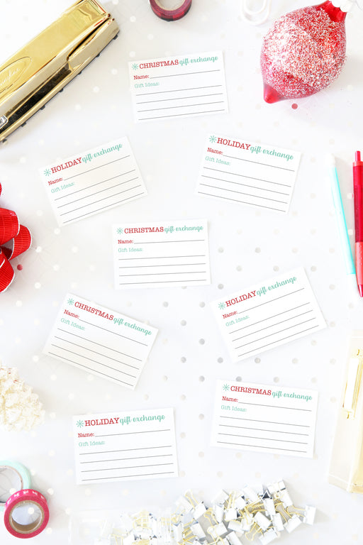 Christmas Gift Exchange Cards Printables / Holiday Gift Exchange Cards Printables, organizing printables, Christmas Planner, Holiday Planner, #printables #organizing