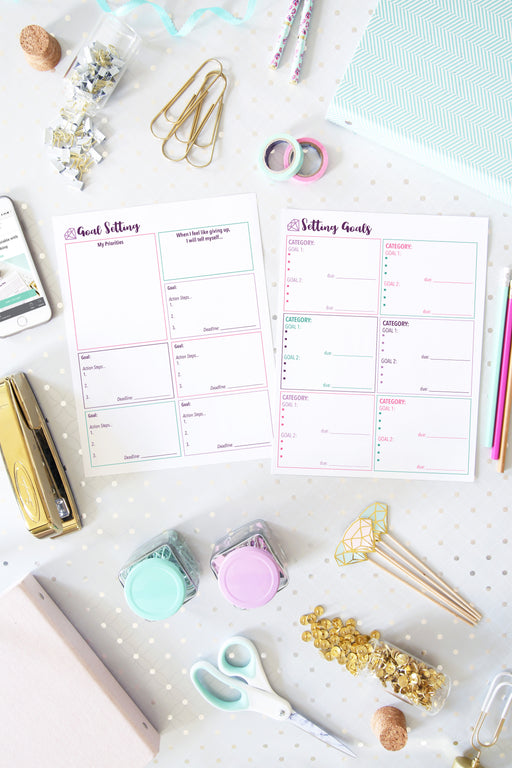 Goal Setting Printables, organizing printables, home binder, #printables #organizing