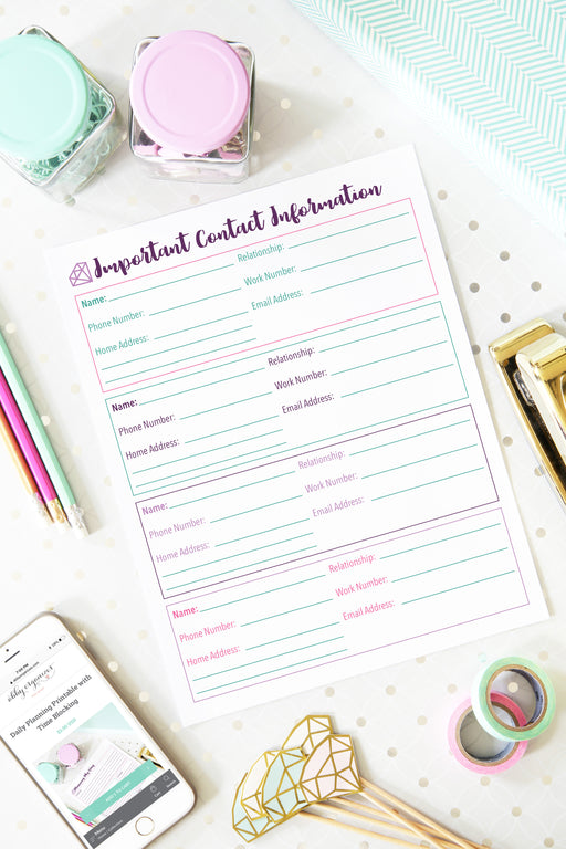 Important Contact Information Printable, organizing printables, student binder, #printables #organizing