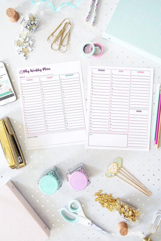 Weekly Planning Printables - Single Page Option and Two Page Spread, organizing printables, home binder, #printables #organizing
