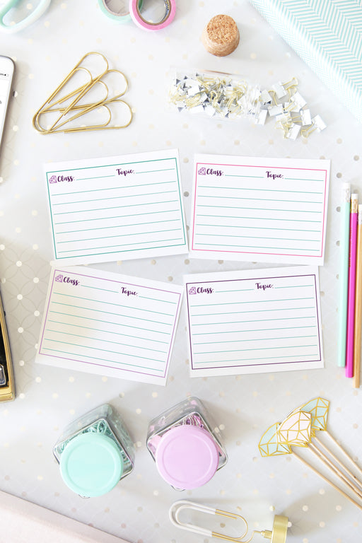 Note Card Printables, organizing printables, student binder, #printables #organizing