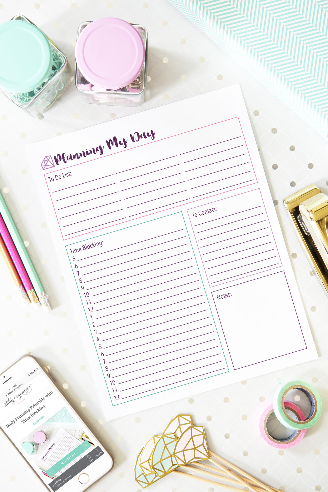 Daily Planning Printable with Time Blocking, organizing printables, home binder, #printables #organizing