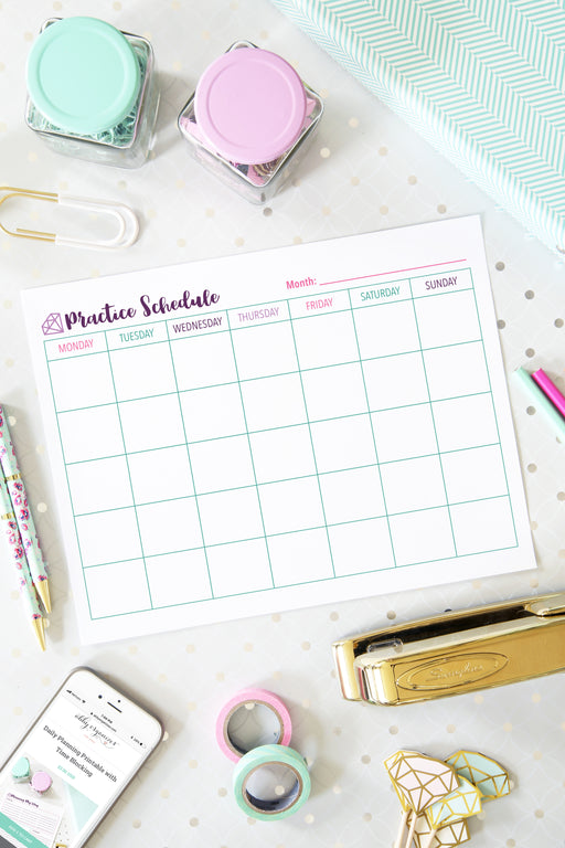 Monthly Practice Schedule Printable, organizing printables, student binder, #printables #organizing