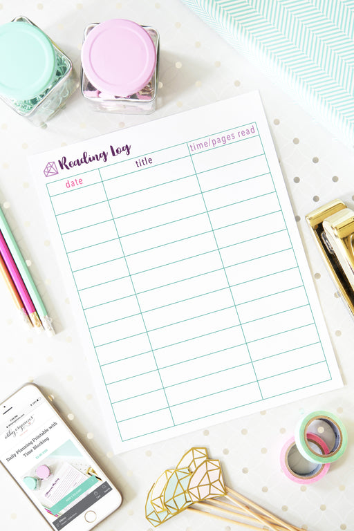 Reading Log Printable, organizing printables, student binder, #printables #organizing