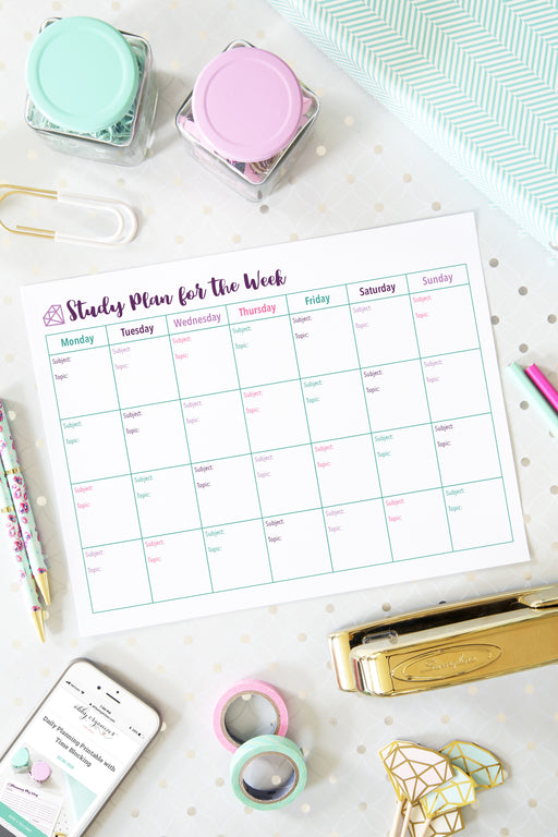 Study Plan for the Week Printable, organizing printables, student binder, #printables #organizing