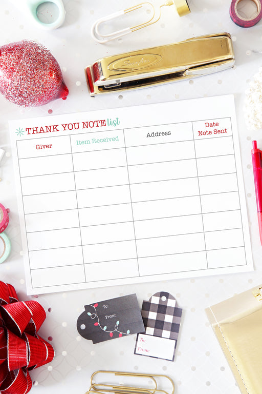 Thank You Note List Printable (Christmas / Holiday Themed), organizing printables, Christmas Planner, Holiday Planner, #printables #organizing