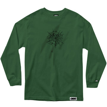 LONG SLEEVE COBWEB EMBROIDERY DIRTY GREEN