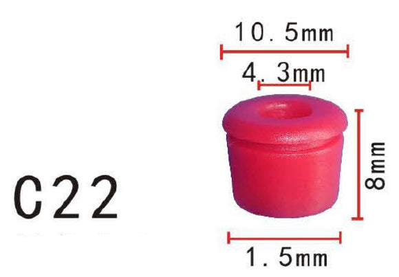 20x Fit Mercedes Benz 000-988-15-81 Red Nylon Moulding Insert Plug Bung