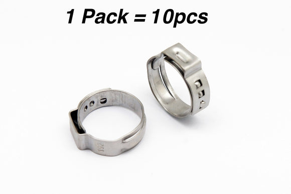 Stainless Ear Crimp Clamps for PEX Tubing, Multiple Size