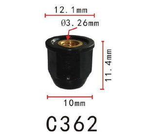 20x Fit Honda 75307-SN7-000 Moulding Nut With Brass Insert M4-0.7  Flange O.D.