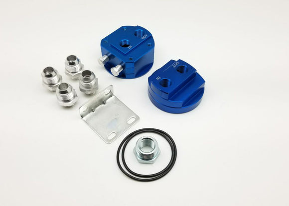 CNC Relocation Oil Filter Engine Oil Block, Oil Cooler Adapter, AN-10 Fittng Adapter - For Most JDM Car