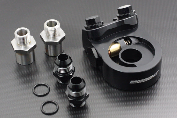 CNC Engine Oil Block with Thermostat, Oil Cooler Adapter, AN-10 Fittng Adapter - For Most JDM Car