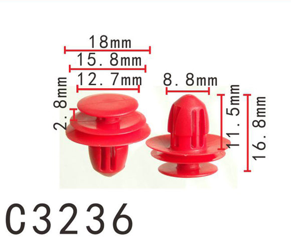 20PCS Rear Door Panel Nylon Retainer Fastener Clip Fit NISSAN Red Color C3236