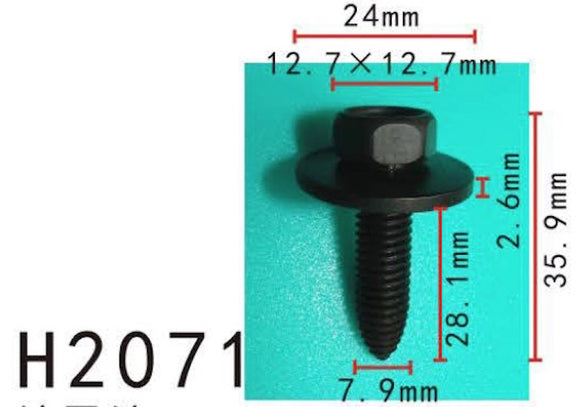 10PCS BUMPER / TRUNK / FENDER 28mm Long Self Tapping Screw Fit For GM