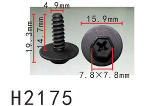 10PCS BUMPER / TRUNK / FENDER 15mm Long Self Tapping Screw Fit For MAZDA