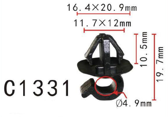 10x Nylon 6mm Prop Rod Hood Bonnet Clip Holds For 10mm Hole