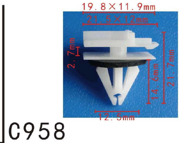 20x Fit GM General Motor 11518988 Nylon Fender Spoiler & Roof Rack Moulding Clip With Sealer