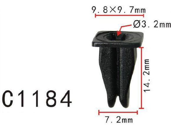 20x Nylon Fit Mercedes Benz #000-988-16-25 Cowl Vent Nylon Nut Clip 9.5x9.5x14mm