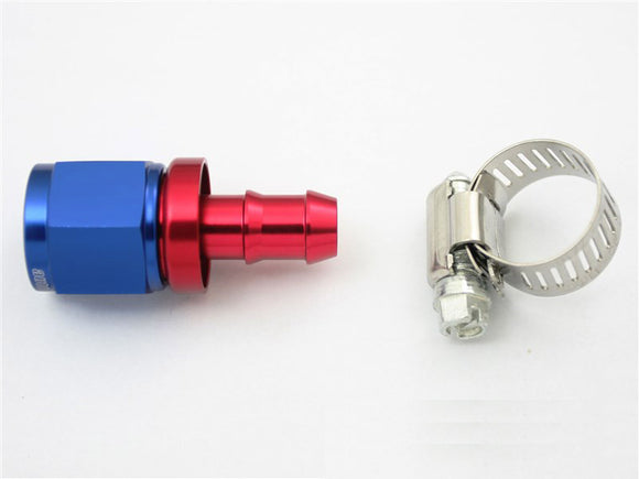 Alloy Push-On AN Hose End Fitting Adapter, Blue/Red, Multiple Angle & Size