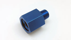 Alloy Fitting Gauge Sensor Sender Thread Reducer, Female M12 P1.5 to Male 1/8 NPT Blue