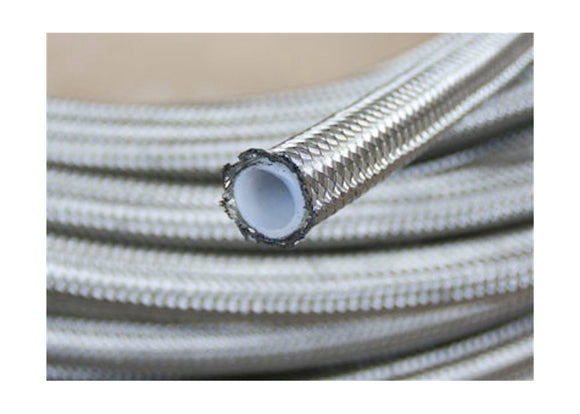 Stainless Steel Braided PTFE Teflon Fuel Oil Gasoline Brake Line Hose by 1 Meter, Silver, Multiple Size