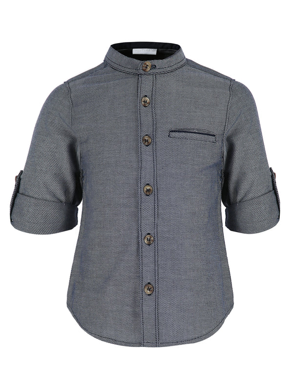 Camisa ML Gris cuello Mao