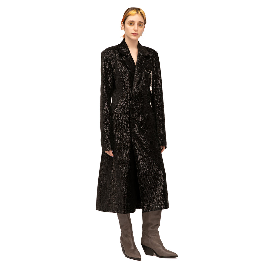 Kayla Double-breasted Sequined Velvet Coat
