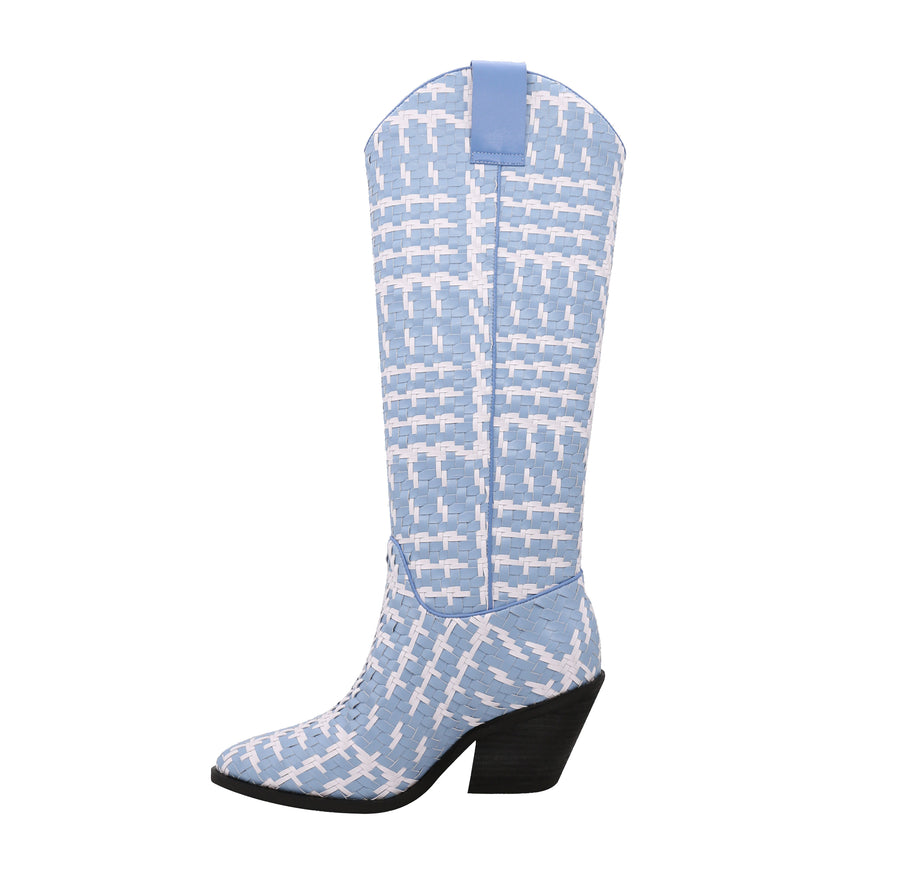 Signatured Woven Colorblock Boots