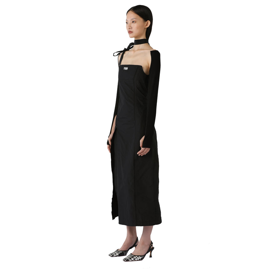 Cora One-Shoulder Logo Midi Dress