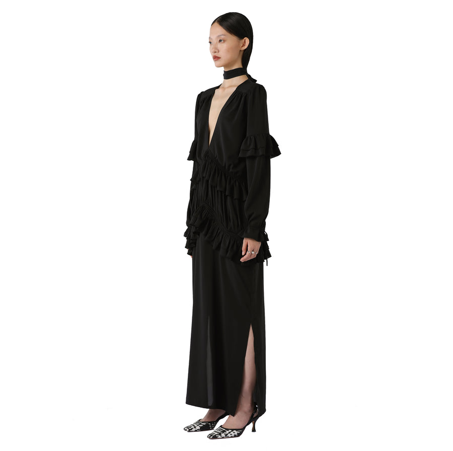Varella Silk Maxi Dress in Black