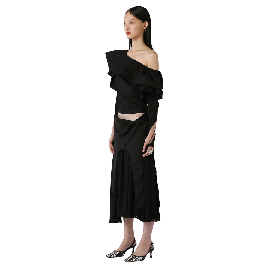 Grace Silk-detailed Chiffon Midi Skirt