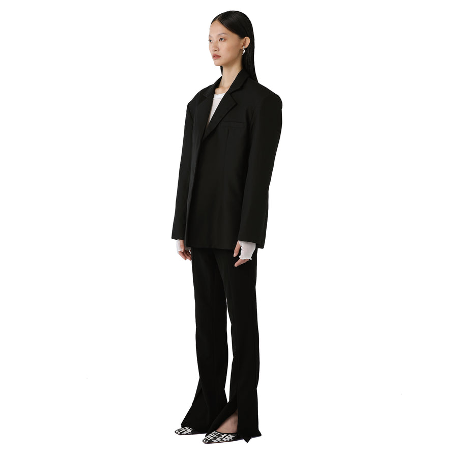 Marta Silk-detailed Oversized Reversible Blazer Black