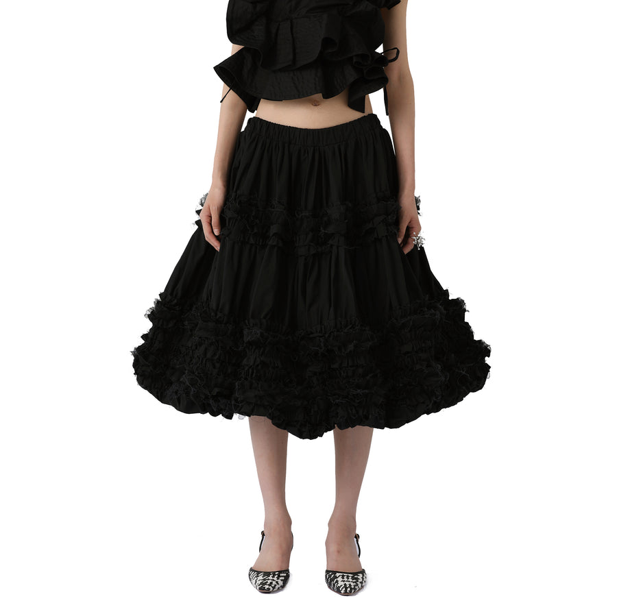 Ruth Asymmetric Ruffled Midi Skirt (Dress)