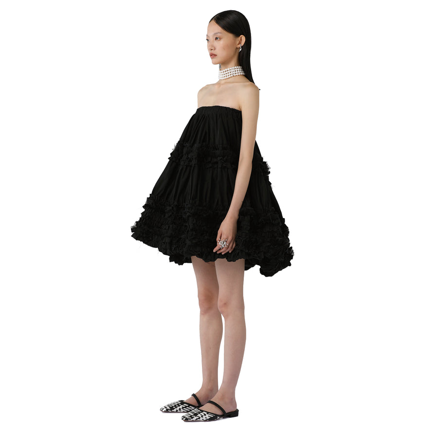 Ruth Asymmetric Ruffled Short Dress (Midi Skirt)