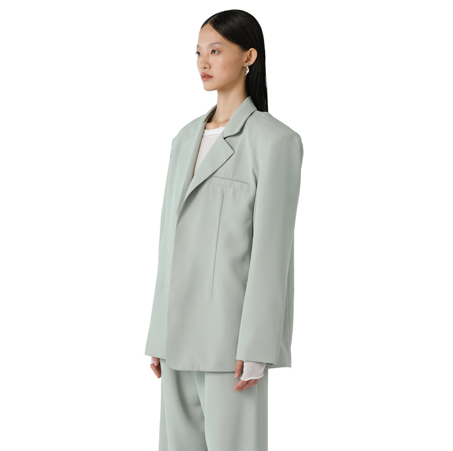 Marta Silk-detailed Oversized Reversible Blazer Olive