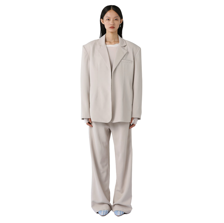 Marta Silk-detailed Suit Trouser Beige