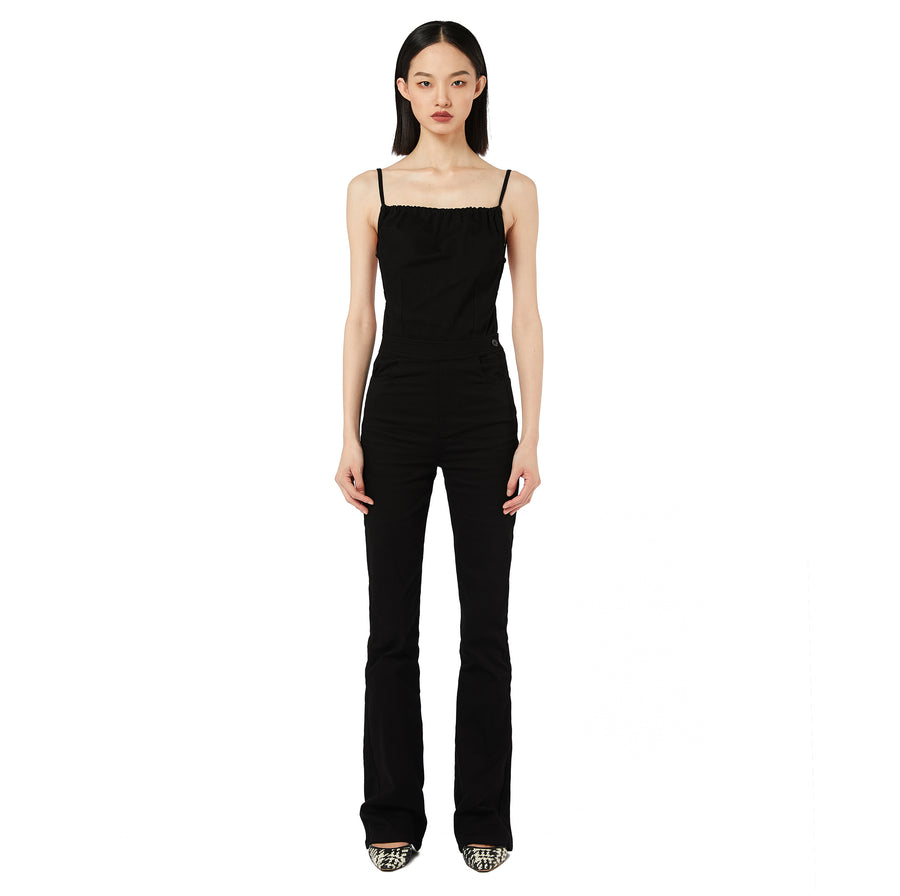 Miki Open Back Denim Jumpsuit in Black