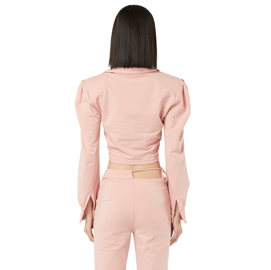 Kiki Polo Long Sleeves Top in Pink