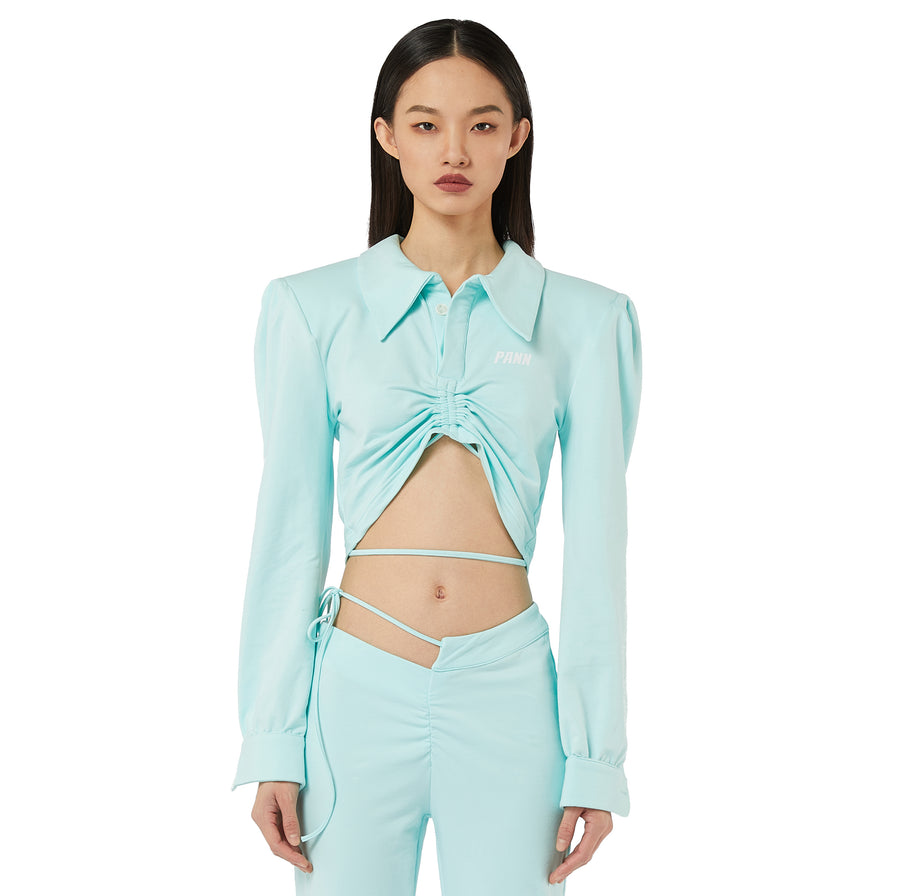 Kiki Polo Long Sleeves Top in Mint