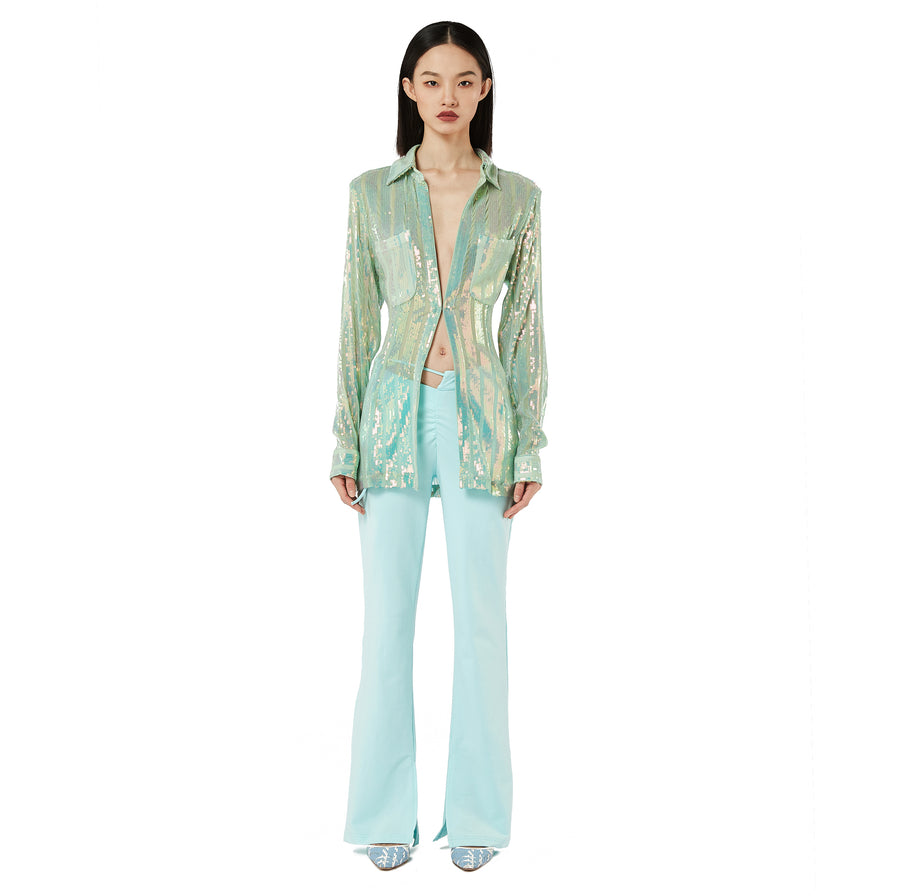 Kiki Bootcut Belted Pants in Mint