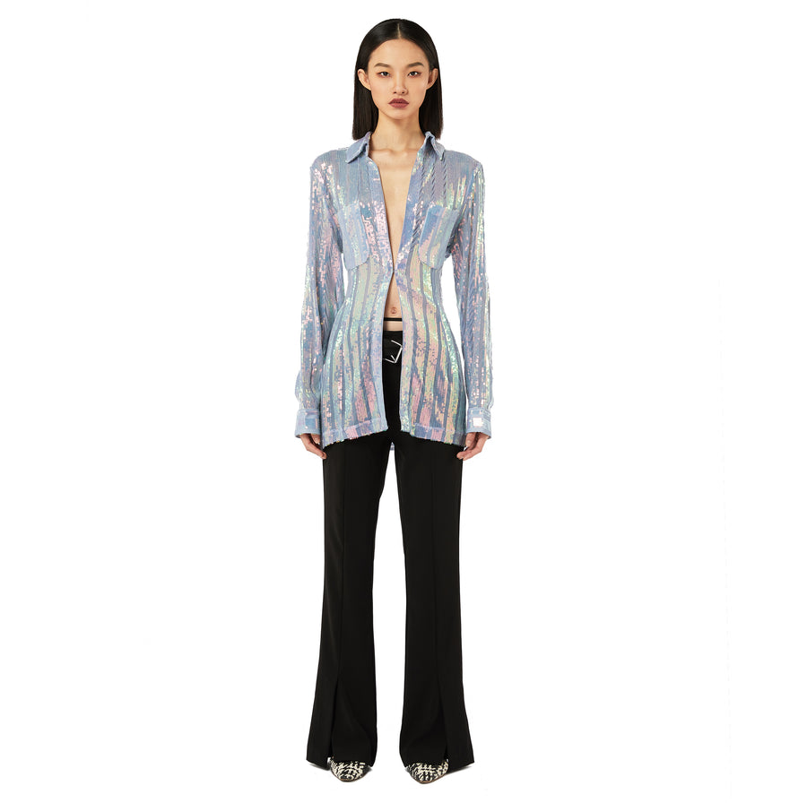Alloy Sequined Slim Shirt in Purple Multi