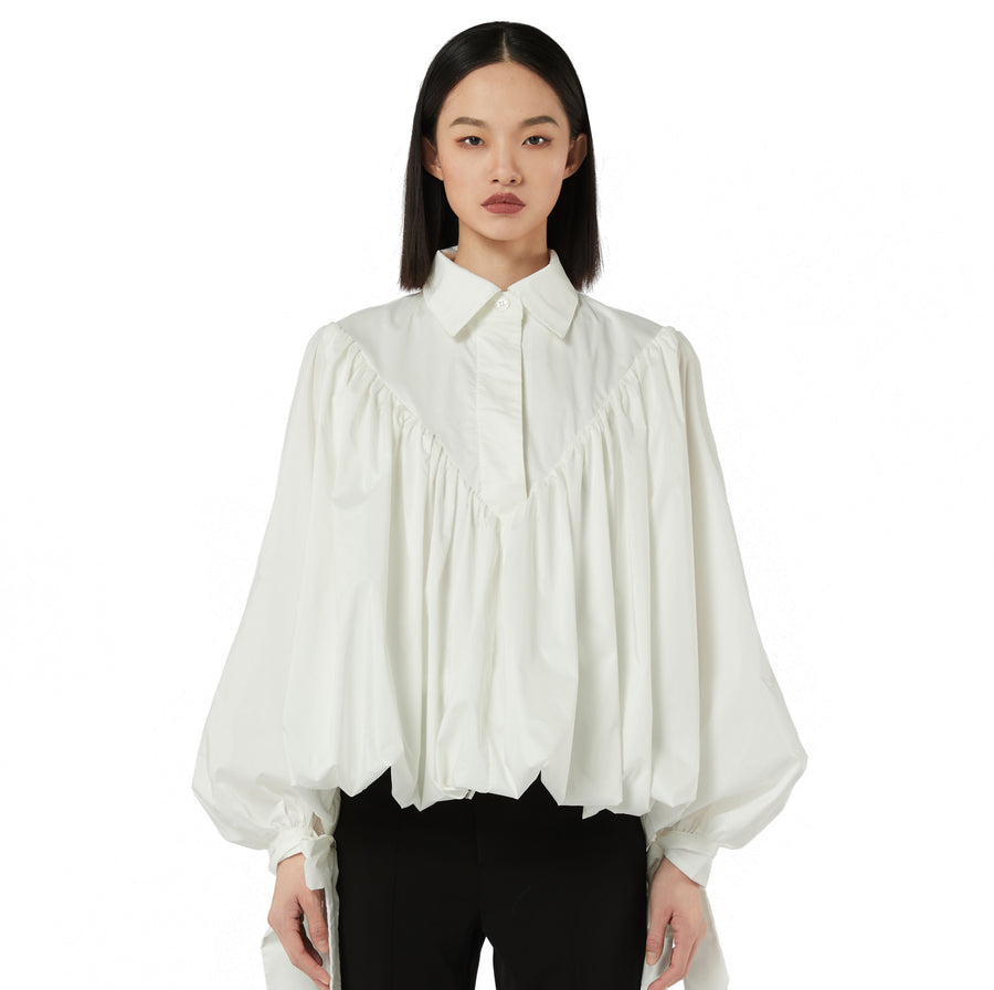 Emily Bow-Detailed Poplin Shirt