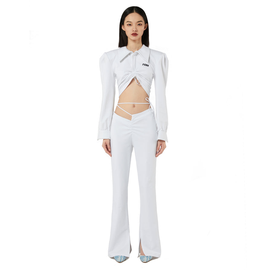 Kiki Bootcut Belted Pants in White