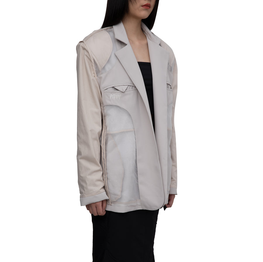 Marta Silk-detailed Oversized Reversible Beige