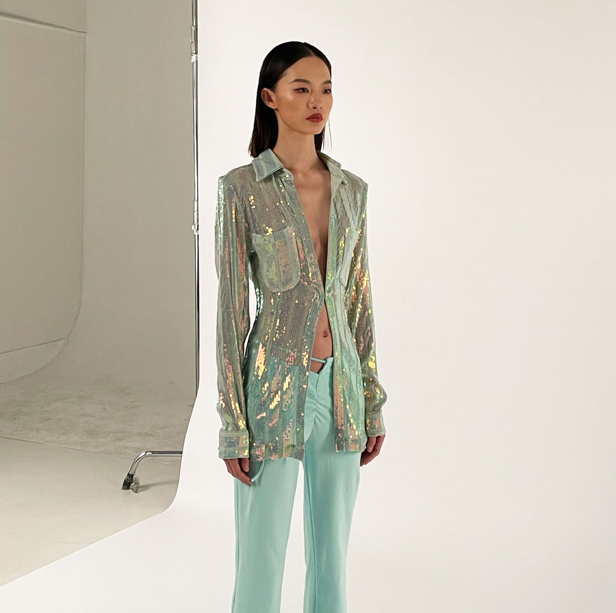 Alloy Sequined Slim Shirt in Mint Multi